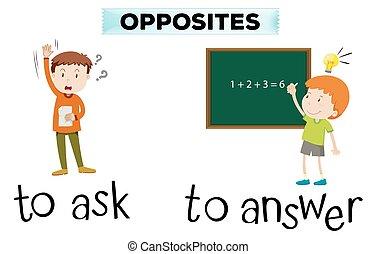 antwoord, vragen, wordcard, tegenoverstaand