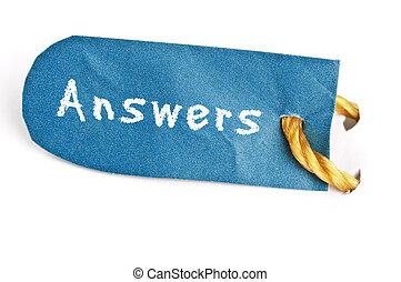 antwoorden, woord, op, etiket