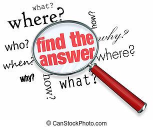 antwort, glas, -, vergrößern, finden