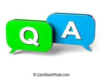 antwort, vortrag halten , begriff, frage, blase