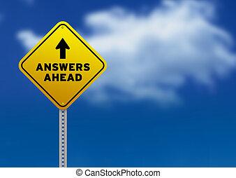 antworten, voraus, straße zeichen