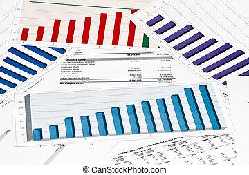 anual, declaração, relatório, ligado, gráficos, e, gráficos