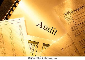 anual, orçamento, calendário, e, auditoria