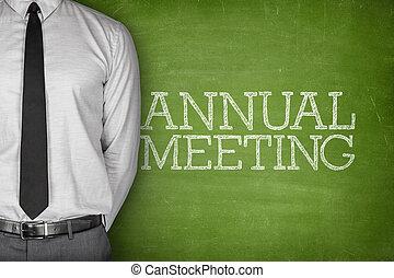 anual, reunión, texto, en, pizarra