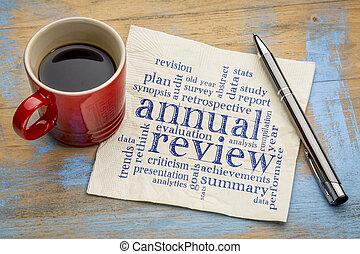 anual, revisão, guardanapo, palavra, nuvem