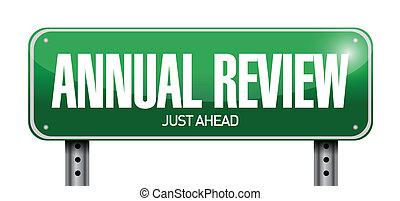 anual, revisão, sinal estrada, ilustração, desenho