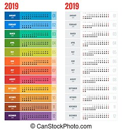 anualmente, semana, planificador, pared, comienzos, year.,...