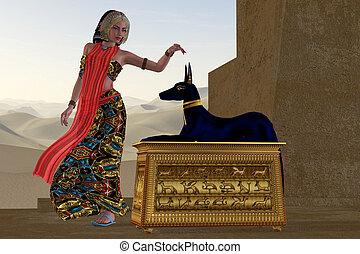 anubis, 女, 像, エジプト人