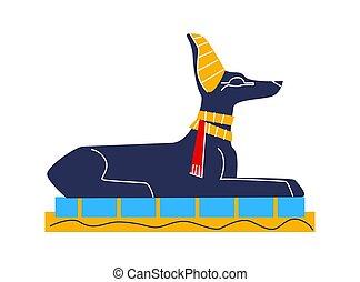 anubis, 漫画, ジャッカル, エジプト, 古代, 壁画, フレスコ画