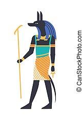 anubis, 神, ジャッカル, style., 古代, カラフルである, 神, mythological, パトロン, -, 宗教, 保有物, 生きもの, 平らな頭部, 来世, ankh, シンボル。, イラスト, egypt., ベクトル, 狼, 神話, ∥あるいは∥
