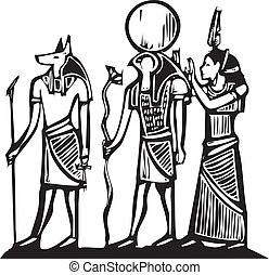 Anubis and Horus Egyptian hieroglyph in woodcut style.