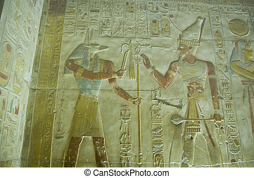 Anubis and Seti wall carving