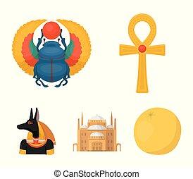 Anubis, Ankh, Cairo citadel, Egyptian beetle.Ancient Egypt...