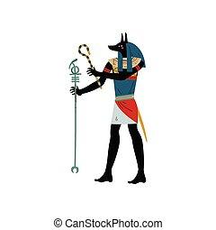 Anubis God of Death, Symbol of Ancient Egyptian Culture Vector Illustration