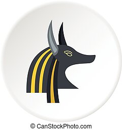 Anubis head icon circle - Anubis head icon in flat circle...