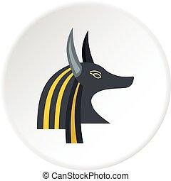 Anubis head icon circle - Anubis head icon in flat circle...