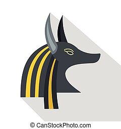 Anubis head icon, flat style