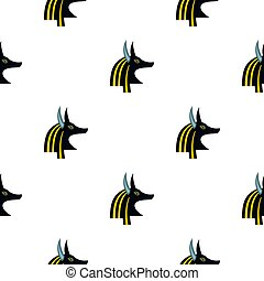 Anubis head pattern seamless background in flat style repeat...