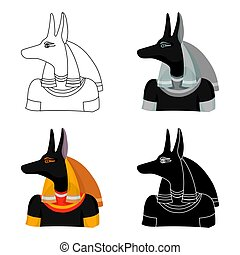 Anubis icon in cartoon style isolated on white background....