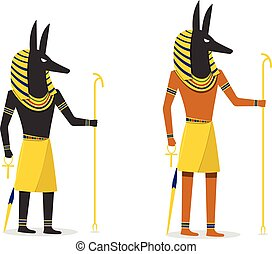 Anubis in flat vector design isolated on white - Anubis in...
