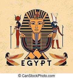 anubis, symboles, symbole, vecteur, égyptien, dieux, soleil, scarab., ailé, foi, pharaon, ancien, tutankhamun, coléoptère, illustration, horus, egypte
