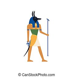 Anubis, the god of death, Egyptian ancient culture vector Illustration