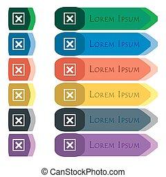 anulovat, ikona, podpis., dát, o, barvitý, bystrý, dlouho, hotelový poslíček, s, dodatečný, malý, modules., byt, design
