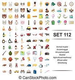 anunciando, álcool, set., parque, egito, ilustração, vetorial, maquinaria, safari, africano, agrícola, animal, divertimento, ícone