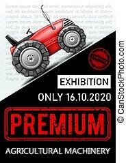 anunciando, coloridos, cartaz, maquinaria, agrícola, exibição