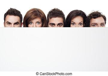 anunciando, com, rostos engraçados