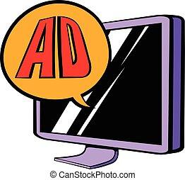 anunciando, ligado, tv, ícone, caricatura