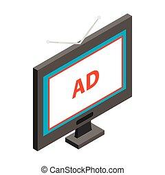 anunciando, ligado, tv, ícone, isometric, 3d, estilo