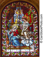 Anunciation Archangel Gabriel Tell Mary She Will Have Jesus Stained Glass San Francisco el Grande Royal Basilica Madrid Spain. Basilica designed in the second half of 1700s, completed by Francisco Sabatini.