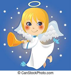 anuncio, ángel pequeño