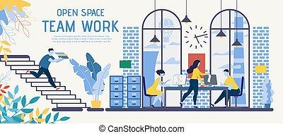 anuncio, espacio, abierto, coworking, vector, trabajo en ...