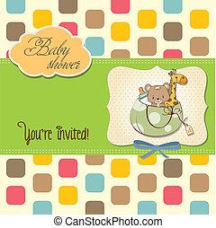 anuncio, mismo, bolsa, juguetes, bebé, nuevo, tarjeta