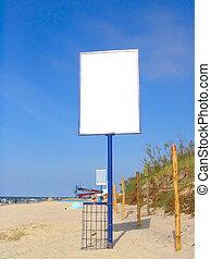 anuncio, playa, vacío