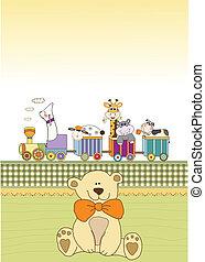 anuncio, tren, tarjeta, bebé, nuevo, animal