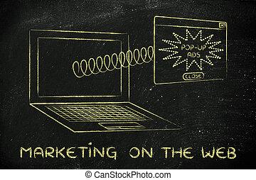 anuncios, primavera, pantalla, pop-up, webmarketing:, venida, computador portatil, afuera