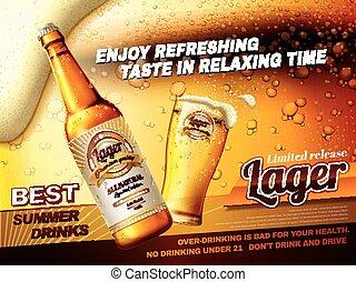 anuncios, refrescante, cervezadorada, cerveza