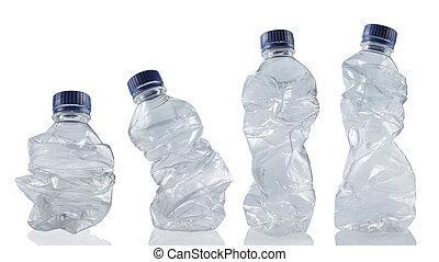 använd, flaskor, tom, kollektion, plastisk
