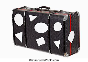 använd, gammal, resa, resväska, tom, klistermärken