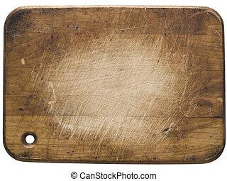 använd, trä, bitande planka