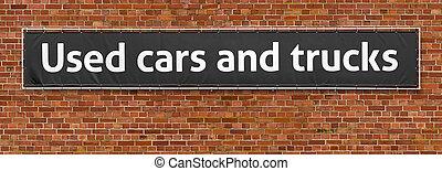 använda bilar, och, lastbilar, skriftligt, på, a, baner