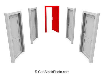 använda, dörr, röd
