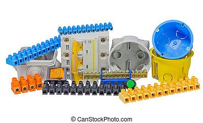 använda, komponent, utrustning, elektrisk, installa, redskapen