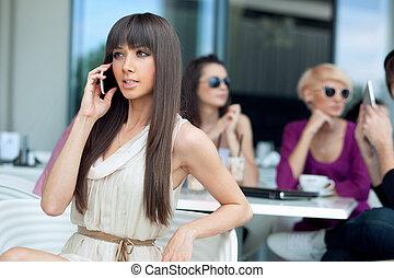 användande, bedöva, brunett, skönhet, mobiltelefon