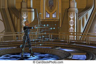 användande, kvinna, hologram