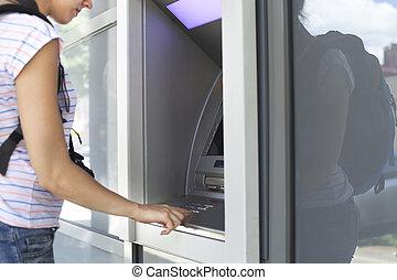 användande, kvinna, machine., bankrörelse