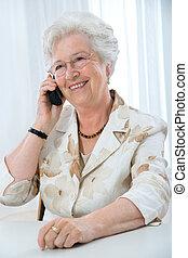 användande, kvinna, telefon, mogna